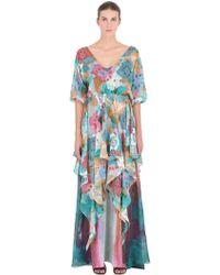 Larusmiani Printed Silk Chiffon Dress