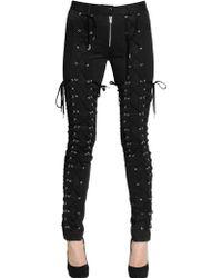 Jean Paul Gaultier Lace-up Cotton Stretch Trousers - Black