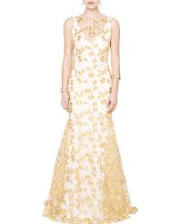 Theia Embroidered Crepe Gown - Lyst