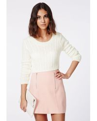 Missguided Aqsa Cable Crop Jumper Cream - Lyst