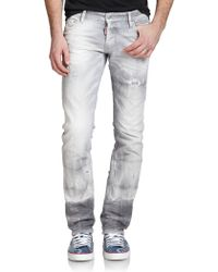 DSquared² Washed & Distressed Slim-Fit Jeans gray - Lyst