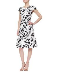 Carolina Herrera Pansy-Print Belted Inverted-Pleat Dress - Lyst
