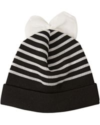 Federica Moretti | Striped Wool Beanie Hat With Bow | Lyst