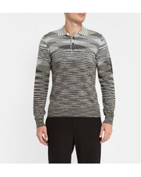 Missoni Striped Woolblend Knitted Polo Shirt - Lyst
