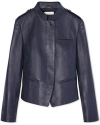 Tory Burch Leather Motorcycle Jacket - Blue