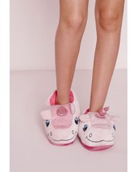 Missguided Unicorn Slippers Pink