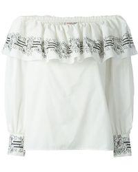 Yves Saint Laurent Vintage Ruffled Top white - Lyst