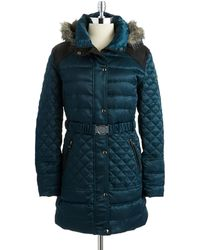 Guess Puffer Coat with Belt - Lyst