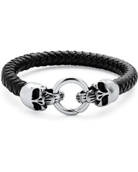 Palmbeach Jewelry - Men's Leather Skull Bracelet In Stainless Steel And Black Leather - Lyst
