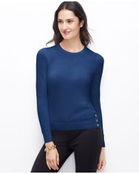 Ann Taylor Side Button Sweater - Lyst
