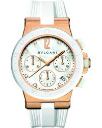 BVLGARI Diagono 18Ct Pink-Gold, Ceramic And Diamond Watch - For Women - Lyst