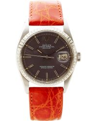 CMT Fine Watch And Jewelry Advisors Rare Vintage Rolex Datejust in Gray Sigma with Red Crocodile Band