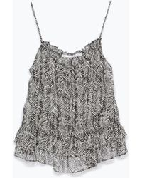 Zara Printed Top With Frills black - Lyst