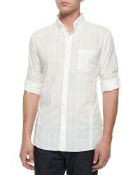 John Varvatos Tonal Plaid Roll-Tab Woven Shirt - Lyst