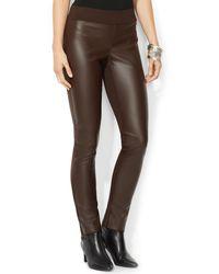 Ralph Lauren Lauren Petites Faux Leather Panel Skinny Pants - Lyst