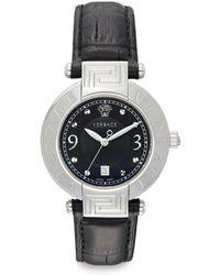 Versace Reve Stainless Steel Greek Key  Leather Watch - Lyst