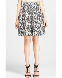 Oscar de la Renta Marble Print Tweed Skirt - Lyst