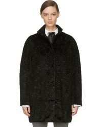 Alexander McQueen Black Mock Astrakan Coat - Lyst