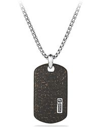 David Yurman Carbon Fiber Large Tag Necklace - Lyst
