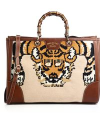 Gucci | Bamboo Embroidered Tote With Tiger & Bee | Lyst