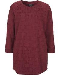 Topshop Womens Check Jacquard Sweat Tunic  Burgundy - Lyst