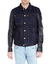 Just Cavalli Leather Sleeve Denim Jacket - Lyst