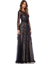 Marchesa Voyage - Embroidered Long Sleeve Gown - Black - Lyst