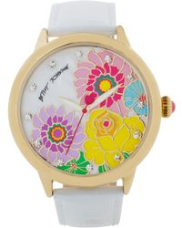 Betsey Johnson Women'S White Croc-Embossed Leather Strap Watch 44Mm Bj00280-12 - Lyst