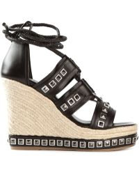 Alexander McQueen Studded Leather Wedges - Lyst
