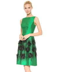 Lela Rose Cocktail Dress with Embroidered Skirt Emeraldivory - Lyst