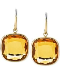Michael Kors Gold-Tone Stainless Steel Citrine Stone Drop Earrings gold - Lyst