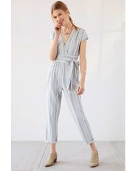Ecote - Yarn-dye Stripe Wrap Jumpsuit - Lyst