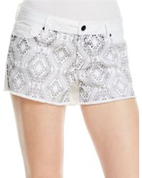 Jessica Simpson Geo Print Denim Shorts - Lyst