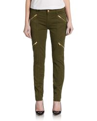 7 For All Mankind Zip Paneled Moto Skinny Jeans Olive - Lyst