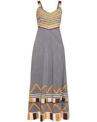 Easton Pearson Take Away Summer Girl Ribbon-trim Cotton Dress - Blue