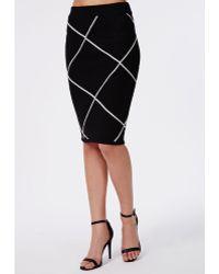 Missguided Grid Knitted Midi Skirt Black - Lyst