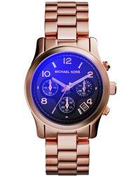 Michael Kors Women'S Chronograph Runway Rose Gold-Tone Stainless Steel Bracelet Watch 38Mm Mk5940 - Lyst