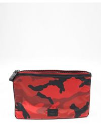 Valentino Red Camouflage Nylon Flat Clutch - Lyst