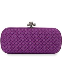 Bottega Veneta Woven Faille Large Knot Clutch Bag purple - Lyst