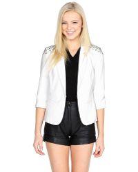 Leather And Sequins - Freebird White Stud Blazer Jacket - Lyst