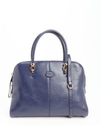 Tod's Marine Blue Leather Large Top Handle Tote - Lyst