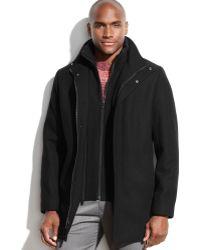 Calvin Klein Woolblend Bibbed Walking Coat - Lyst
