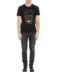 Alexander McQueen Gold Lamé Zipper Skull Tshirt - Lyst