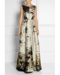 Alberta Ferretti Metallic Jacquard Gown - Lyst