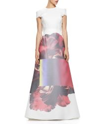 Carolina Herrera Printed-Skirt Ruffled Gazar Gown - Lyst