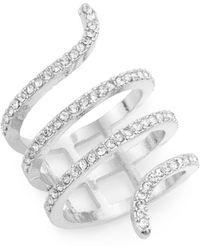 Cara - White Stone Snake Ring/silvertone - Lyst