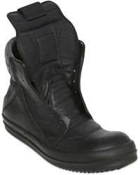 Rick Owens Geobasket High Top Leather Sneakers - Lyst
