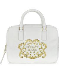 Versace Jeans White Saffiano Eco Leather Handbag - Lyst