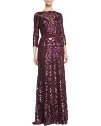 Tadashi Shoji Longsleeve Sequined Lace Gown - Lyst