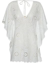 ViX | Solid White Lace V Caftan | Lyst